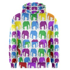 Rainbow Colors Bright Colorful Elephants Wallpaper Background Men s Pullover Hoodie