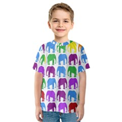 Rainbow Colors Bright Colorful Elephants Wallpaper Background Kids  Sport Mesh Tee