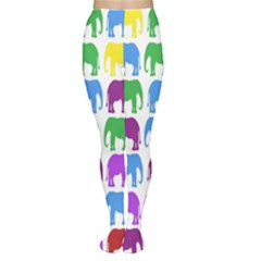 Rainbow Colors Bright Colorful Elephants Wallpaper Background Women s Tights