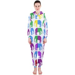 Rainbow Colors Bright Colorful Elephants Wallpaper Background Hooded Jumpsuit (ladies)