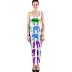 Rainbow Colors Bright Colorful Elephants Wallpaper Background OnePiece Catsuit