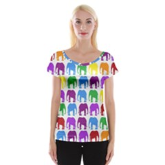 Rainbow Colors Bright Colorful Elephants Wallpaper Background Women s Cap Sleeve Top