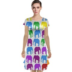 Rainbow Colors Bright Colorful Elephants Wallpaper Background Cap Sleeve Nightdress