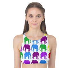 Rainbow Colors Bright Colorful Elephants Wallpaper Background Tank Bikini Top