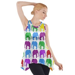 Rainbow Colors Bright Colorful Elephants Wallpaper Background Side Drop Tank Tunic