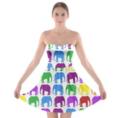 Rainbow Colors Bright Colorful Elephants Wallpaper Background Strapless Bra Top Dress