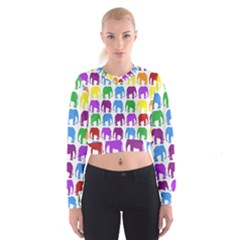 Rainbow Colors Bright Colorful Elephants Wallpaper Background Women s Cropped Sweatshirt