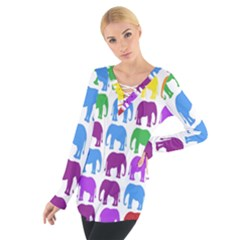 Rainbow Colors Bright Colorful Elephants Wallpaper Background Women s Tie Up Tee