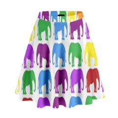 Rainbow Colors Bright Colorful Elephants Wallpaper Background High Waist Skirt