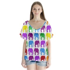 Rainbow Colors Bright Colorful Elephants Wallpaper Background Flutter Sleeve Top