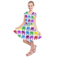 Rainbow Colors Bright Colorful Elephants Wallpaper Background Kids  Short Sleeve Dress