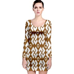Art Abstract Background Pattern Long Sleeve Bodycon Dress