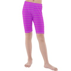 Clovers On Pink Kids  Mid Length Swim Shorts