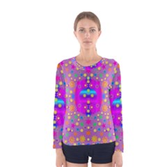 Colors And Wonderful Flowers On A Meadow Women s Long Sleeve Tee