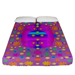 Colors And Wonderful Flowers On A Meadow Fitted Sheet (Queen Size)
