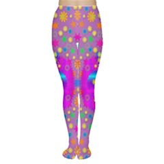 Colors And Wonderful Flowers On A Meadow Women s Tights