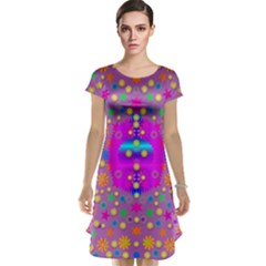 Colors And Wonderful Flowers On A Meadow Cap Sleeve Nightdress