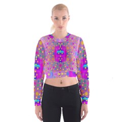 Colors And Wonderful Flowers On A Meadow Women s Cropped Sweatshirt