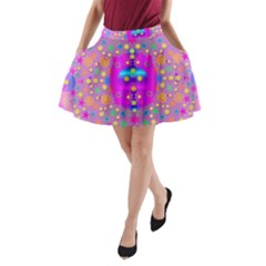 Colors And Wonderful Flowers On A Meadow A Line Pocket Skirt