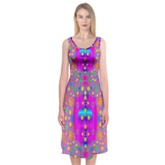 Colors And Wonderful Flowers On A Meadow Midi Sleeveless Dress