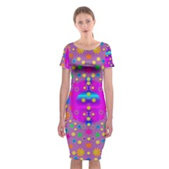 Colors And Wonderful Flowers On A Meadow Classic Short Sleeve Midi Dress