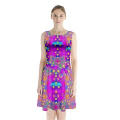 Colors And Wonderful Flowers On A Meadow Sleeveless Chiffon Waist Tie Dress