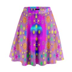 Colors And Wonderful Flowers On A Meadow High Waist Skirt