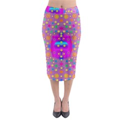 Colors And Wonderful Flowers On A Meadow Midi Pencil Skirt