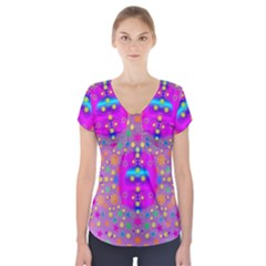 Colors And Wonderful Flowers On A Meadow Short Sleeve Front Detail Top