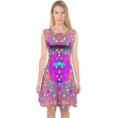 Colors And Wonderful Flowers On A Meadow Capsleeve Midi Dress