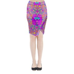Colors And Wonderful Flowers On A Meadow Midi Wrap Pencil Skirt