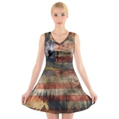 Vintage Eagle  V-Neck Sleeveless Skater Dress