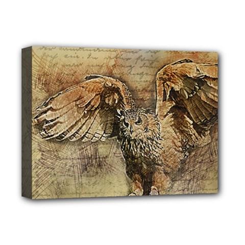Vintage owl Deluxe Canvas 16  x 12