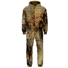 Vintage owl Hooded Jumpsuit (Men)
