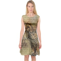 Vintage owl Capsleeve Midi Dress