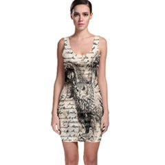 Vintage owl Sleeveless Bodycon Dress