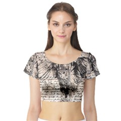Vintage owl Short Sleeve Crop Top (Tight Fit)