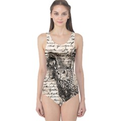 Vintage owl One Piece Swimsuit