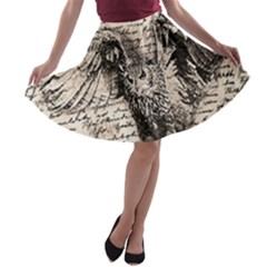 Vintage owl A-line Skater Skirt