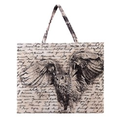 Vintage owl Zipper Large Tote Bag
