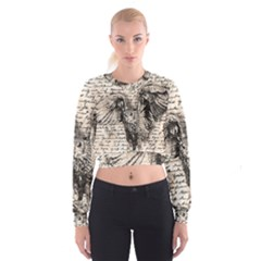 Vintage owl Women s Cropped Sweatshirt