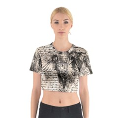 Vintage owl Cotton Crop Top