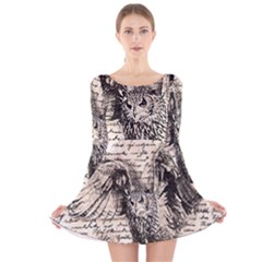 Vintage owl Long Sleeve Velvet Skater Dress