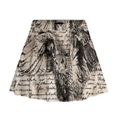 Vintage owl Mini Flare Skirt