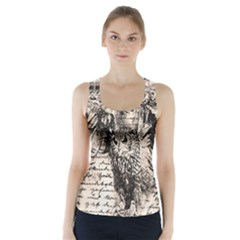 Vintage owl Racer Back Sports Top