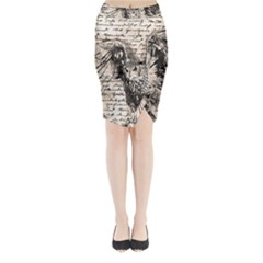 Vintage owl Midi Wrap Pencil Skirt