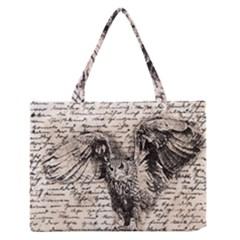 Vintage owl Medium Zipper Tote Bag