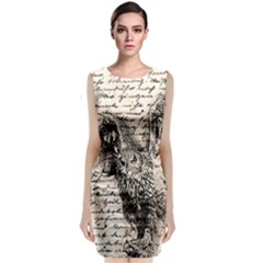 Vintage owl Sleeveless Velvet Midi Dress