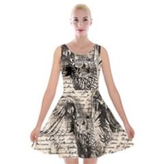 Vintage owl Velvet Skater Dress