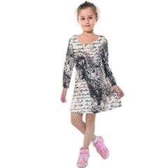 Vintage owl Kids  Long Sleeve Velvet Dress